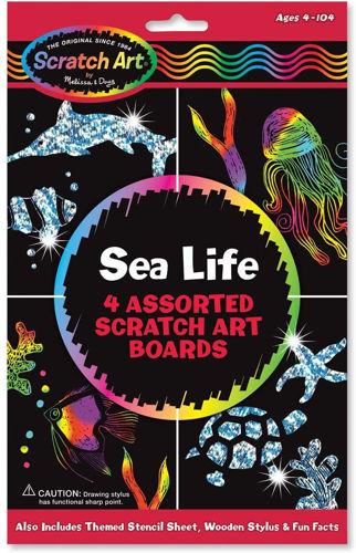 Scratch Art Sheets Sea Life A4,  assorted designs plus wooden stylus,  size: A4, suitable all abilities