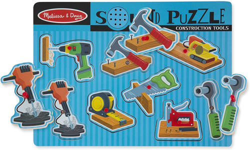 8 Piece Construction Tools Sound Puzzle, large pegged pieces for easy grip, shaped spaces makes tool sound when placing piece, AAA batteries required, size: (w) 30cm (h) 21.8 (d) x 2.8cm