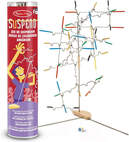 Suspend Balance Game, shaped metal pins to balance, 31 pieces, metal and wood construction, all abilities, size: (h) 32cm x (w) 7cm x (d) 7cm,boxed.