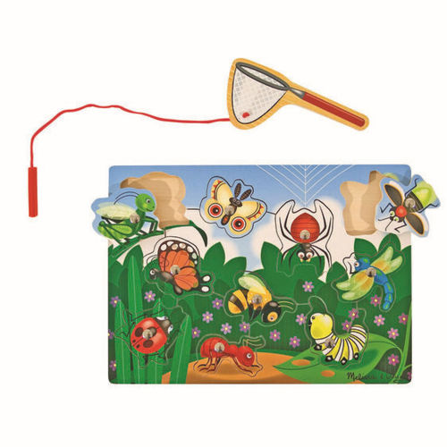 Catch a Bug Magnetic Game, wooden fishing game includes 10 bugs and magnetic rod, ladybird dragonfly caterpillar etc, size: (l) 30cm x (w) 29cm x (d) 2.5cm.