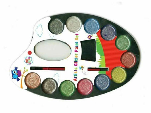 Glitter Paint Palette, 12 assorted glitter watercolour paints with brush, includes thumb hole