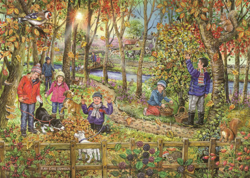 250 Large Piece Jigsaw Puzzle - Autumn Leaves, 3.6cm pieces for easy gripping older hands, finished size: 34cm x 48cm. Boxed.