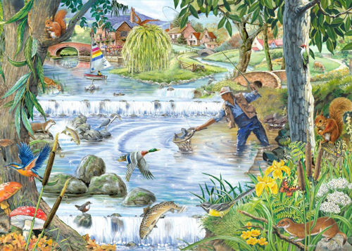 250 Large Piece Jigsaw Puzzle - Sparkling Waters, large 3.6cm pieces for easy gripping, durable board pieces, size: 48cm c 34cm, boxed