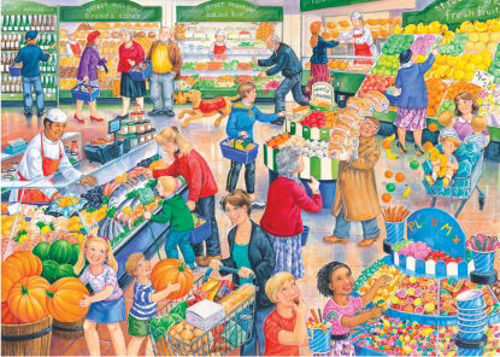 250 Large Print Jigsaw Puzzle - Supermarket Dash, large 3.6cm pieces for easy gripping, durable board pieces, size: 48cm x 34cm, boxed