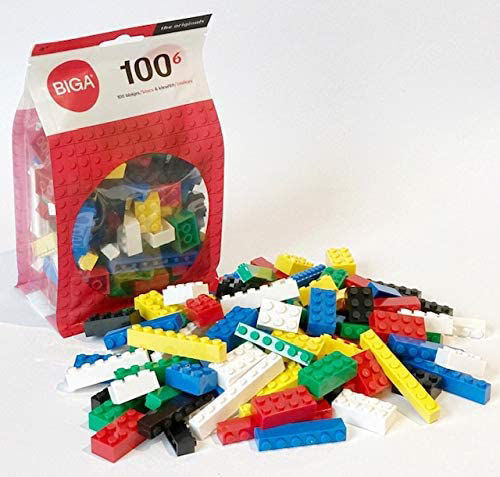 Building Bricks, set of 100 assorted shapes and colours, fully washable plastic, size: assorted.