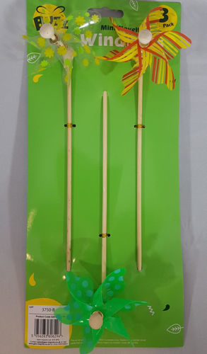Garden Windmills (Set of 3), wooden stem and plastic turbine, approx 30cm long.