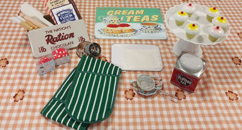 Time for Tea and Cake Set, everything you need for a vintage garden party, assorted items including cake stand oven gloves storage tins cake cases and cutters baking set nostalgic sign and postcards, size: various
