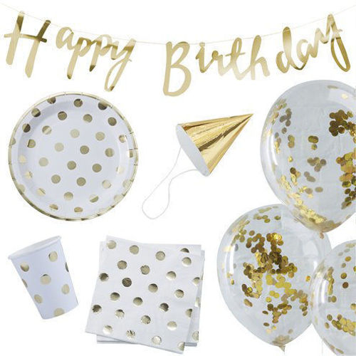 Party in a Box - Gold Polka Dot, assorted party cups plates bunting balloons etc. assorted sizes.