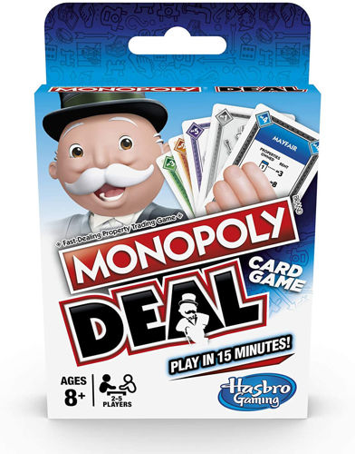 Monopoly Deal Card Game, traditional game but in card form, 110 cards including money cards, action  cards and property cards, instructions, size: (Box) (l) 14.2cm x (w) 9.3cm x (d) 2cm. Boxed.