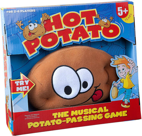 Hot Potato Game, soft plush playing pototo for easy catching, includes cards and batteries, Size: Potato: (l) 17cm x (w) 11cm x (d) 6cm. Made from plush man made fabric. Sponge clean only.