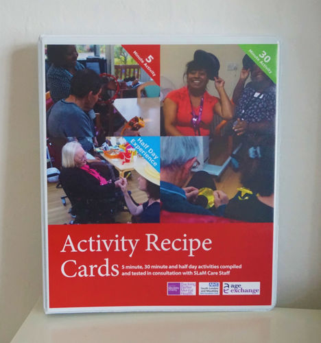 Age Exchange Toolkit, activity cards for dementia, 30 laminated activity cards with 5 minute, 30 minute and half day activity ideas in a laminated ring binder, Size: (Folder) (l) 32cm x (w) 27cm X (d) 5cm. Activity Cards: (l) 30cm x (w) 21cm.