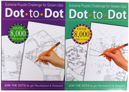 Dot to Dot Book (set of 3 assorted), good for hand/eye coordination older people in care homes, size: 29.5cm x 21cm. Softback