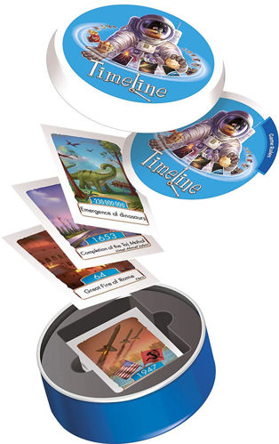 Timeline Card Game - Events, set contains: 55 cards and 1 x tin storage box.  Size: Tin: (dia) 8.5cm x (d) 2.5cm.