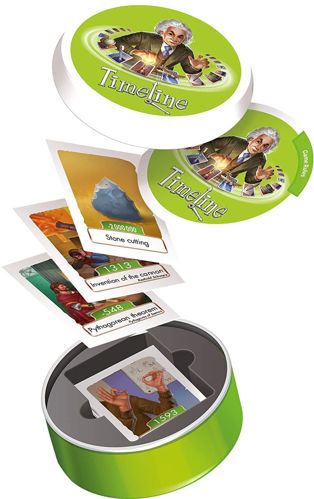 Timeline Card Game - Inventions, set contains: 55 cards and 1 x tin storage box.  Size: Tin: (dia) 8.5cm x (d) 2.5cm. 2-6 players.