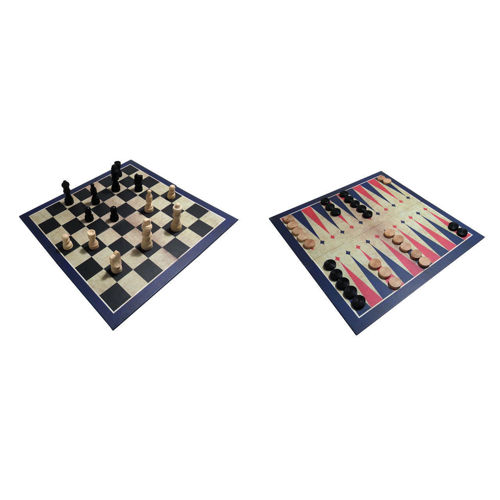 Activities to Share - 3 in 1 Classic Wooden Games Set, comprises double-sided board chess/draughts & backgammon, includes playing pieces