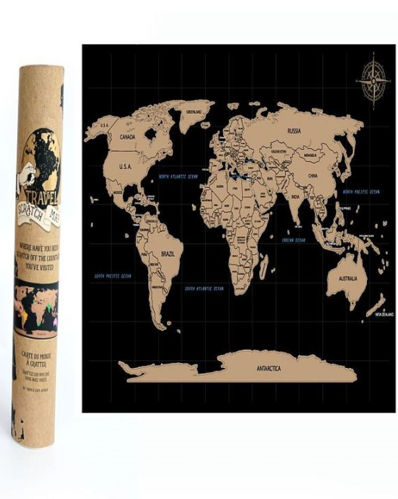 Travel Scratch Map, scratch off the coating to highlight the countries you have visited, size: A4. Storage tube.