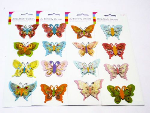 Butterfly Craft Embellishments, pack of four assorted, 3 dimensional cut out shapes, peel and stick, easy care home craft activity