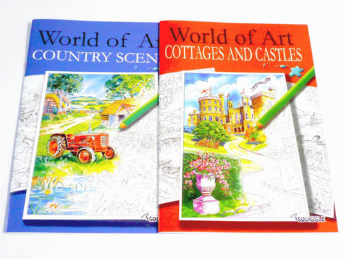 Adult Colouring Books, set of 2, one each Country Scenes and one Cottages and Castles, detailed images with feint outlines that hide easily once coloured, size A4 softback.