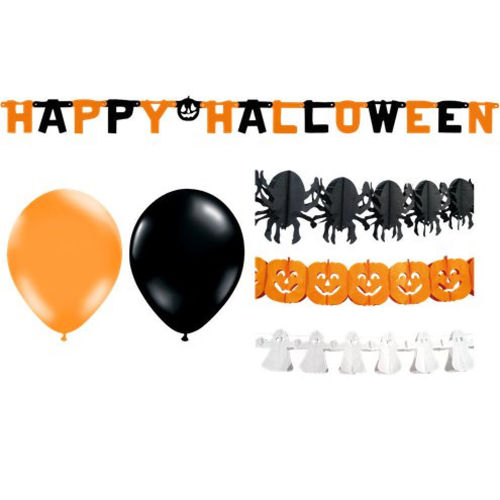 Halloween Party Decor Kit, instant party in one kit, contains 1 x ghost paper banner 1 x spider paper banner 1 x pumpkin paper banner 1 x Happy Halloween banner and 10 x assorted black and orange balloons,