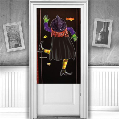 Crashed Witch Door Cover, Halloween party door cover decoration, simple instant party appeal to suit any room, size: (l) 100cm x (w) 76cm