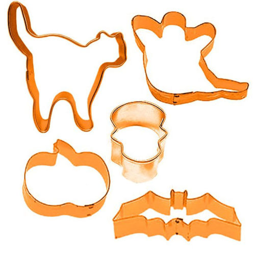 Halloween Cookie Cutters, pack of five assorted, one each of cat ghost skull pumpkin and bat, makes a great tactile activity for older people in care homes, lightweight metal, size: range from 4cm - 13cm