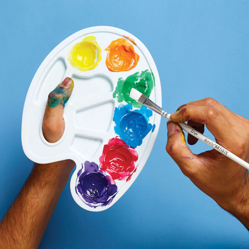 Activities to Share  - Mixing Paint Palette, hand demonstration with different colours of paint