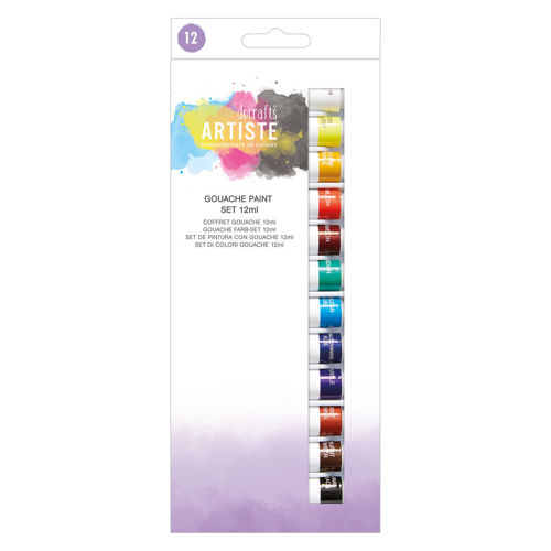 Gouache Painting Set (12 assorted colours), 12ml tubes of assorted artist colours, can be mixed in any shade, boxed.