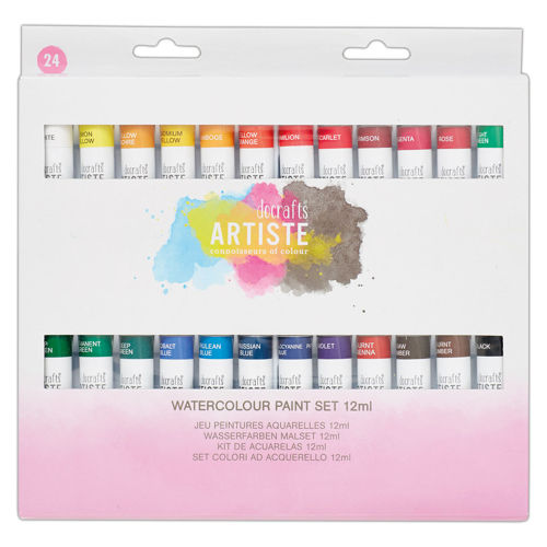 Watercolour Paint Set (24 x 12ml assorted tubes), 24 varied artist colours to suit any art project, easily mixed, boxed.