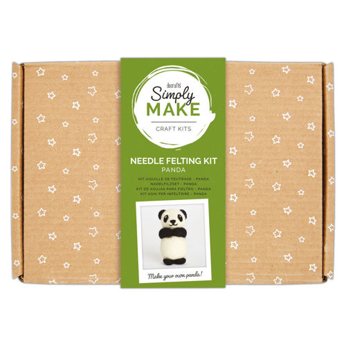 Simply Make Kit - Needle Felt Panda, kit contains coloured wool, polystyrene body pieces and 2 x felting needles plus instructions, Size: Box: (l) 25.2cm x (w) 18cm x (d) 6.9cm