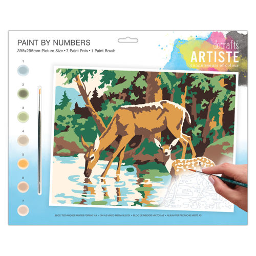 Activities to Share  - Paint By Numbers Woodland Deer, kit contains 7 paint pots and 1 paint brush with instructions, size: 39cm x 29cm