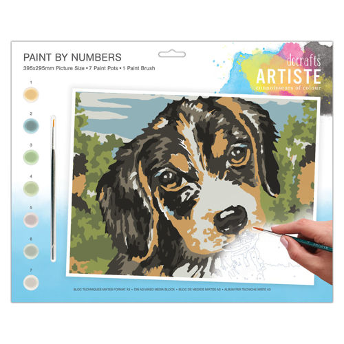 Activities to Share  - Paint By Numbers - Dog, set contains 7 paint pots and 1 brush with instructions, size: 39cm x 29cm
