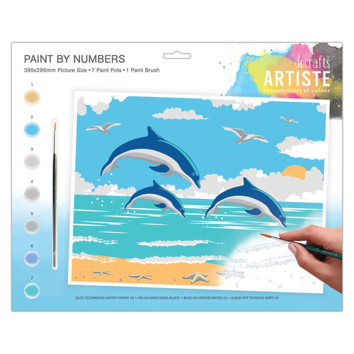 Activities to Share -Paint By Numbers Leaping Dolphins, 7 pots of paint and 1 paintbrush with instructions, size: 39cm x 29cm
