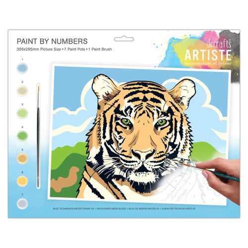 Activities to Share - Paint By Numbers  Regal Tiger, set contains 7 paint pots and 1 brush with instructions, size: 39cm x 29cm