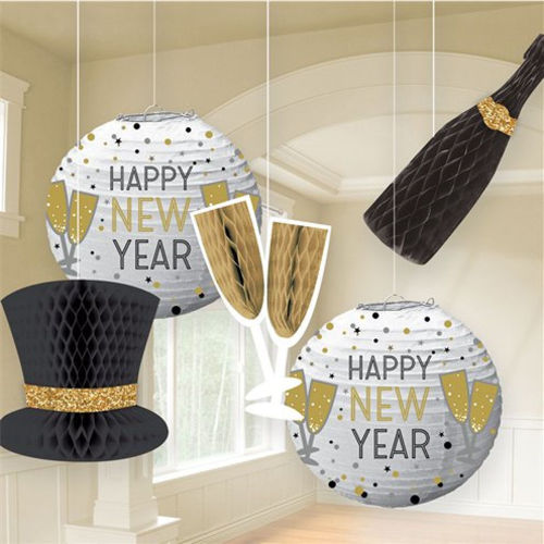 New Year Party Decor Kit, paper honeycomb room decoration, fold flat for easy storage