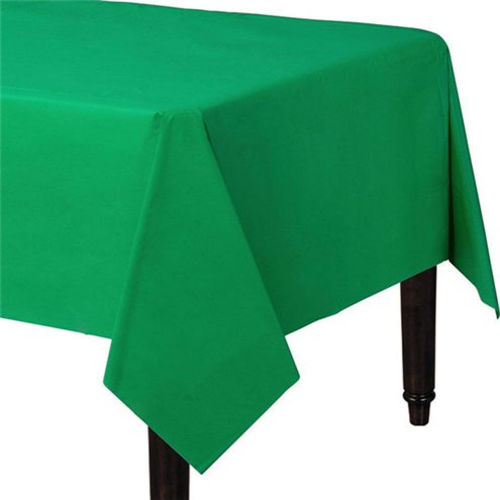 Green Table Cover, paper surface plastic underneath to mop up spills, easy party table decoration birthday anniversary Christmas New Year crafts exhibitions, size: (l) 2.8m x (w) 1.4m