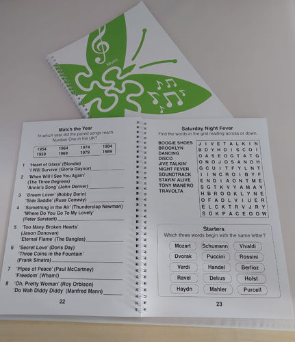 Large Print Music Puzzle Book, large bold print for sight impaired or dementia older people in care homes, simple music quiz questions wordsearch matching puzzles, spiral-bound softback A4 book. Photocopiable.