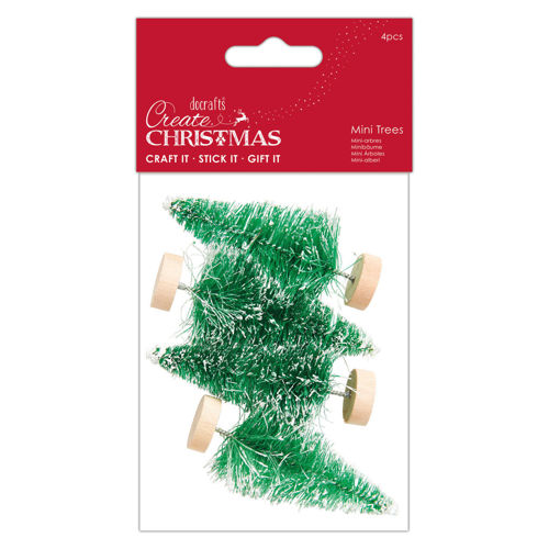 Snow Tipped Mini Trees, Christmas decoration for cakes, tables, mantelpiece, wire tree on wooden base, pack of 4