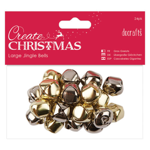 Festive Jingle Bells, pack of 20 in gold and silver assorted, metal bells for craft decoration music projects