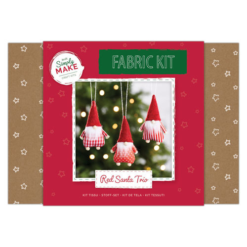 Fabric Kit - Red Santa Trio, ready to go make your own Santa tree decoration, kit contains everything you need, fabric pieces, glue, cord
