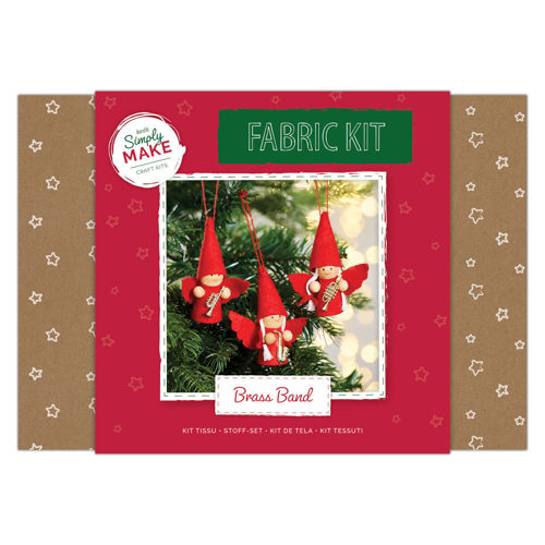 Fabric Kit - Brass Band Angels craft kit, everything you need to make these tree decorations, fabric glue hanging cord