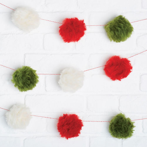 Pom Pom Garland Kit, set contains red and green pom pom lightweight material with yarn,