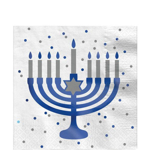 Hanukkah Paper Napkin set, 16 napkins with metallic blue menorah with blue and silver dots, size: 33cm.