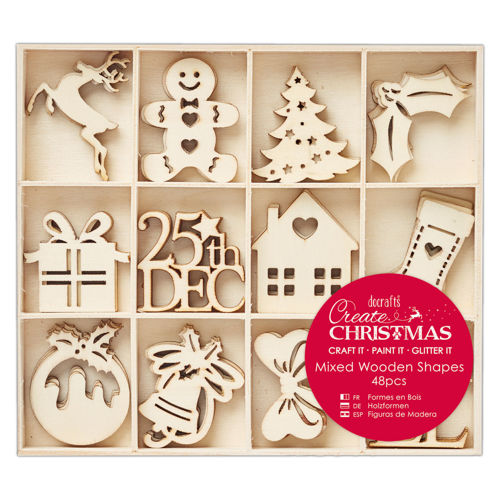 Mixed Wooden Christmas Shapes, 48 assorted wooden festive cut outs to decorate, boxed