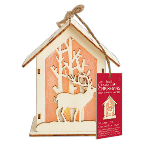 Wooden LED Shadow Box House - Stag design, pre cut wooden pieces with glue and LED light, hanging decoration, easy to assemble