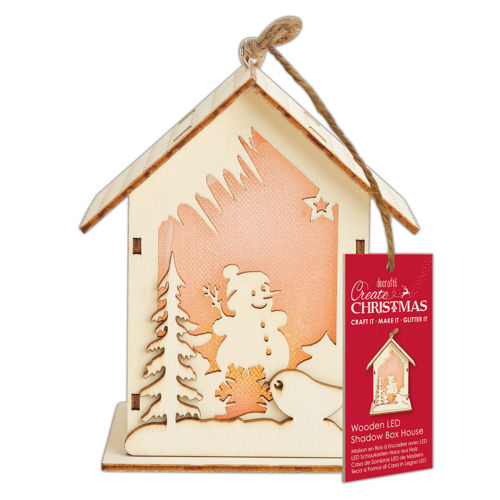 Wooden LED Shadow Box House - Snowman, ready cut wooden pieces glue together for 3D effect with LED light, includes wooden pieces glue hanging ribbon LED light instructions