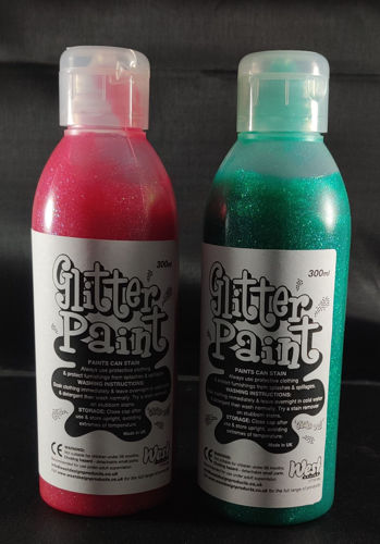 Glitter Paints 300ml, set of 2 red and 2 green bottles, group craft activities,  plastic bottle, size 300ml