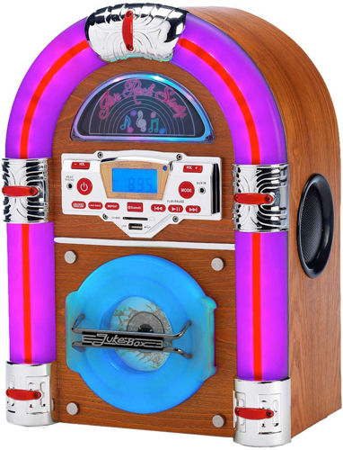 Activities to Share - Retro Jukebox with Amazon Alexa, image shows domed wood effect with purple, pink and chrome front edging. Blue display screen and buttons on front panel. Size: (h) 36.83cm x (w) 26.67cm.