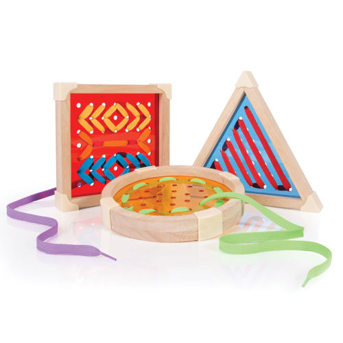 Geometric Lacing Forms, one each orange square, yellow circle and blue triangle with punched holes, 3 levels of ability, acrylic with natural wooden frame, includes 6 x colourful laces, size: circle: (dia) 17.5cm, square: (l) 16.5cm x (w) 16.5cm, trriangle: (l) 21.5cm. All (d) 2.5cm.