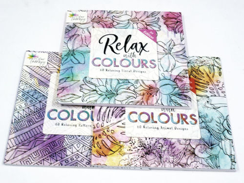Relax With Colours - 3 Book Set, image shows one each Animal, Floral and Pattern books with colourful covers, 60 designs in each, softback, A4