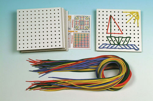 Threading Cards and Laces (pack of 10) laminated white square cards with punched holes along with coloured laces in red, blue, green and yellow for pattern making, size: board: (l) 17.5cm c (w) 17.5cm